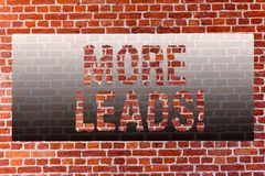 Word writing text More Leads. Business concept for Give additional potential clients customers Brick Wall art like. Word writing text More Leads. Business photo stock photo