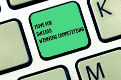 Word writing text Move For Success Winning Competition. Business concept for Make the right moves to win the game Keyboard key. Intention to create computer royalty free stock photos