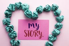 Word writing text My Story.... Business concept for Biography Achievement Personal History Profile Portfolio written on Pink Stick. Word writing text My Story Stock Photography