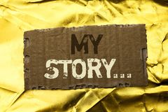 Word writing text My Story.... Business concept for Biography Achievement Personal History Profile Portfolio written on tear Cardb. Word writing text My Story Stock Photos