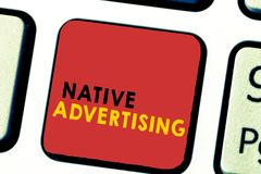 Word writing text Native Advertising. Business concept for Online Paid Ads Match the Form Function of Webpage.  stock photos