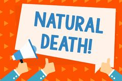 Word writing text Natural Death. Business concept for occurring in the course of nature and from natural causes Hand. Word writing text Natural Death. Business vector illustration