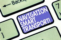 Word writing text Navigation Smart Transport. Business concept for Safer, coordinated and smarter use of transport. Keyboard key Intention to create computer royalty free stock images