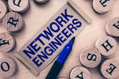 Word writing text Network Engineers. Business concept for Technology professional Skilled in computer system.  royalty free stock photography