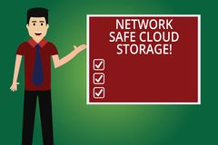Word writing text Network Safe Cloud Storage. Business concept for Security on new online storage technologies Man with stock illustration