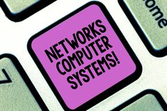Word writing text Networks Computer Systems. Business concept for Devices link together to facilitate communication Keyboard key stock images
