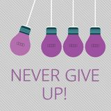 Word writing text Never Give Up. Business concept for Be persistent motivate yourself succeed never look back Color. Word writing text Never Give Up. Business stock illustration