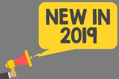 Word writing text New In 2019. Business concept for list of fresh things got introduced this year or the next Man holding megaphon. E loudspeaker speech bubble vector illustration