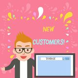 Word writing text New Customers. Business concept for an entity that has not previously purchased one s is goods Male. Word writing text New Customers. Business stock illustration