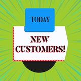 Word writing text New Customers. Business concept for an entity that has not previously purchased one s is goods. Word writing text New Customers. Business stock illustration