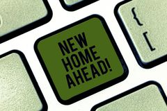 Word writing text New Home Ahead. Business concept for Buying an own house apartment Real estate business Relocation. Keyboard key Intention to create computer royalty free stock image