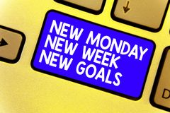 Word writing text New Monday New Week New Goals. Business concept for Be positive every start of the week Keyboard blue key Intent. Ion create computer computing royalty free stock images
