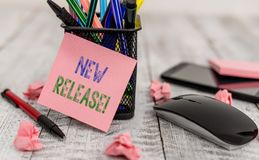 Word writing text New Release. Business concept for announcing something newsworthy recent product Writing equipment and. Word writing text New Release. Business royalty free stock photo