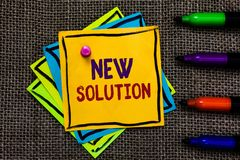 Word writing text New Solution. Business concept for Modern Innovation Latest effective approach to a problem Paper notes Importan. T reminders Communicate ideas stock images