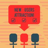 Word writing text New Users Attraction. Business concept for Something that makes showing want for a particular thing. Blank Space Color Arrow Pointing to One royalty free illustration