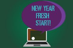 Word writing text New Year Fresh Start. Business concept for Motivation inspiration 365 days full of opportunities. Certificate Layout on Laptop Screen and stock illustration