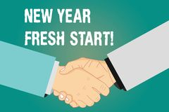 Word writing text New Year Fresh Start. Business concept for Motivation inspiration 365 days full of opportunities Hu. Analysis Shaking Hands on Agreement stock illustration