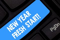 Word writing text New Year Fresh Start. Business concept for Motivation inspiration 365 days full of opportunities. Keyboard key Intention to create computer royalty free stock photography