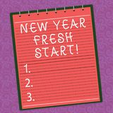 Word writing text New Year Fresh Start. Business concept for Motivation inspiration 365 days full of opportunities Lined. Spiral Top Color Notepad photo on stock illustration