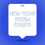 Word writing text New Year Fresh Start. Business concept for Time to follow resolutions reach out dream job Blank Space. Word writing text New Year Fresh Start stock illustration