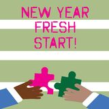 Word writing text New Year Fresh Start. Business concept for Time to follow resolutions reach out dream job Two Hands. Word writing text New Year Fresh Start stock illustration