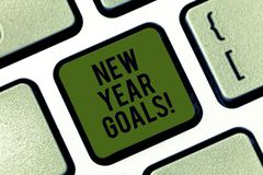 Word writing text New Year Goals. Business concept for Resolutions for 365 days coming soon Motivation to change. Keyboard key Intention to create computer stock photo