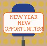 Word writing text New Year New Opportunities. Business concept for Fresh start Motivation inspiration 365 days Blank. Rectangular Shape Sticker Sitting royalty free illustration