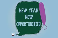 Word writing text New Year New Opportunities. Business concept for Fresh start Motivation inspiration 365 days Blank. Color Speech Bubble Outlined with stock illustration