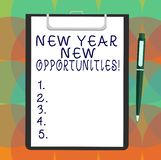 Word writing text New Year New Opportunities. Business concept for Fresh start Motivation inspiration 365 days Blank. Sheet of Bond Paper on Clipboard with vector illustration