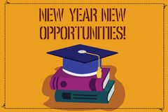 Word writing text New Year New Opportunities. Business concept for Fresh start Motivation inspiration 365 days Color. Graduation Hat with Tassel 3D Academic cap royalty free illustration