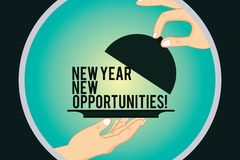 Word writing text New Year New Opportunities. Business concept for Fresh start Motivation inspiration 365 days Hu analysis Hands. Serving Tray Platter and vector illustration