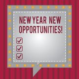 Word writing text New Year New Opportunities. Business concept for Fresh start Motivation inspiration 365 days Square Speech. Bubbles Inside Another with Broken stock illustration