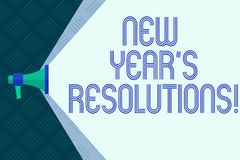 Word writing text New Year S Resolutions. Business concept for Goals Objectives Targets Decisions for next 365 days. Word writing text New Year S Resolutions stock illustration