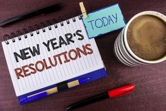 Word writing text New Year'S Resolutions. Business concept for Goals Objectives Targets Decisions for next 365 days written on No. Word writing text New Year'S Stock Photo