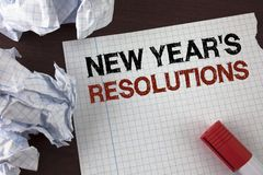 Word writing text New Year'S Resolutions. Business concept for Goals Objectives Targets Decisions for next 365 days written on Te. Word writing text New Year'S Royalty Free Stock Image