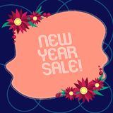 Word writing text New Year Sale. Business concept for Final holiday season discounts price reductions Offers Blank Uneven Color. Shape with Flowers Border for stock illustration