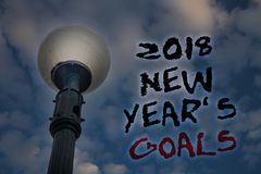 Word writing text 2018 New Years Goals. Business concept for resolution List of things you want to achieve Light post blue cloudy. Clouds sky ideas message royalty free stock images
