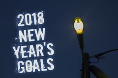 Word writing text 2018 New Years Goals. Business concept for resolution List of things you want to achieve Light post dark blue cl. Oudy clouds sky ideas message stock images