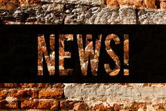 Word writing text News. Business concept for Report of recent events Previously unknown information Media broadcast Brick Wall art. Like Graffiti motivational stock photography
