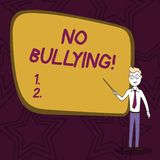 Word writing text No Bullying. Business concept for stop aggressive behavior among children power imbalance Confident. Word writing text No Bullying. Business royalty free illustration