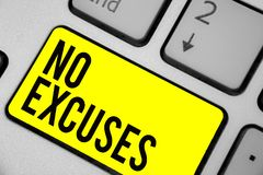 Word writing text No Excuses. Business concept for telling someone not to tell reasons for certain problem Keyboard yellow key Int. Ention create computer stock images
