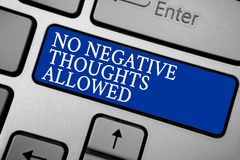 Word writing text No Negative Thoughts Allowed. Business concept for Always positive motivated inspired good vibes Grey silvery ke. Yboard with bold blue color Royalty Free Stock Images