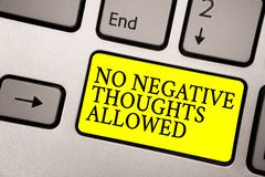 Word writing text No Negative Thoughts Allowed. Business concept for Always positive motivated inspired good vibes Grey. Silvery keyboard with bright yellow stock image