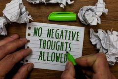 Word writing text No Negative Thoughts Allowed. Business concept for Always positive motivated inspired good vibes Hand hold green. Pen and words on white page royalty free stock photos