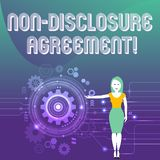 Word writing text Non Disclosure Agreement. Business concept for parties agree not disclose confidential information. Word writing text Non Disclosure Agreement stock illustration