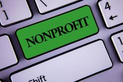 Word writing text Nonprofit. Business concept for Activities that do not generate revenues to the executor written on Green Key Bu. Word writing text Nonprofit Royalty Free Stock Photo