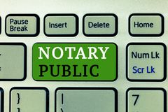 Word writing text Notary Public. Business concept for Legality Documentation Authorization Certification Contract.  stock images
