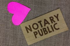 Word writing text Notary Public. Business concept for Legality Documentation Authorization Certification Contract Piece. Squared paperboard paper heart jute royalty free stock photo