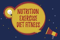 Word writing text Nutrition Exercise Diet Fitness. Business concept for Healthy Lifestyle Weight loss analysisagement.  royalty free illustration