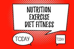 Word writing text Nutrition Exercise Diet Fitness. Business concept for Healthy Lifestyle Weight loss analysisagement.  stock illustration